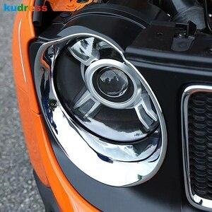 Para jeep renegado 2014-2017 2018 2019 frente chrome farol cabeça lâmpada capa guarnição cabeça luzes protetor decoração acessórios