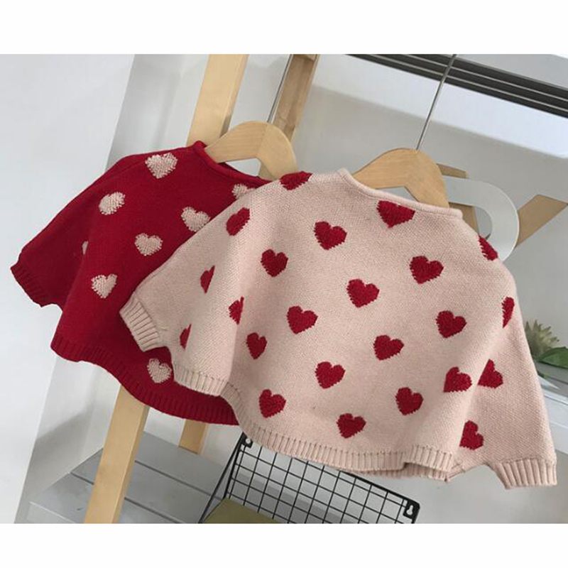 2020 Autumn Fashion Girls' Cloak Sweater Children's Knitted Sweater Clothing Knitted Baby Clothes  Baby Bat Sleeve Sweater