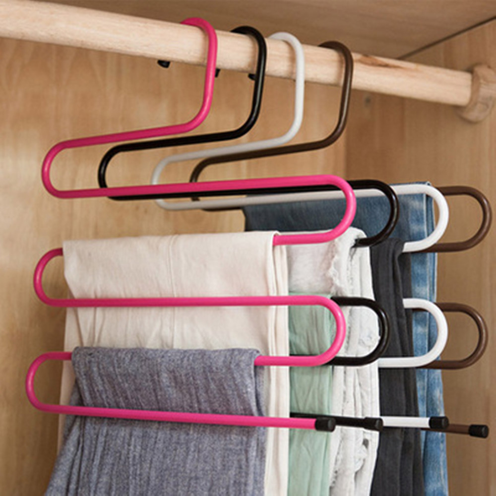 5 Layers Multi-functional S-type Trouser Rack Stainless Steel Multi-layer Trouser Rack Traceless Adult Trouser Hanger