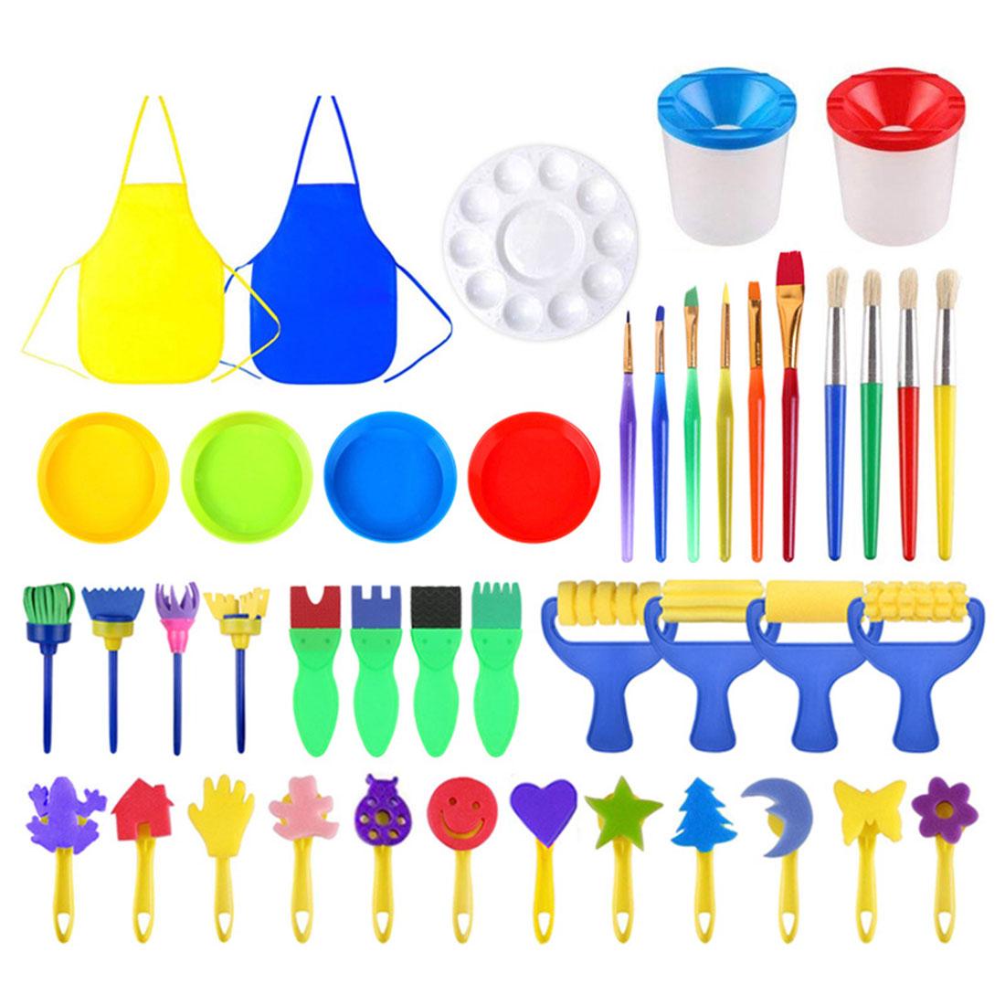 46pcs/set DIY Kids Painting Tools Sponge Paint Roller Brushes Kids Drawing Toys Children Early Learning Toys Art Graffiti Tool