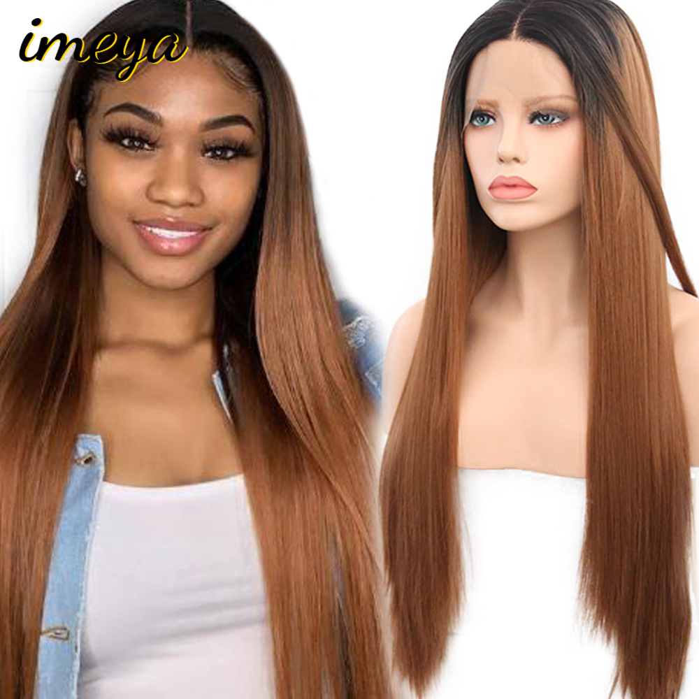 FANXITON Ombre Wigs 24 Inch Silky Straight Wig Heat Resistant Hair Synthetic Lace Front Wigs For Women Heat Resistant Fiber Hair