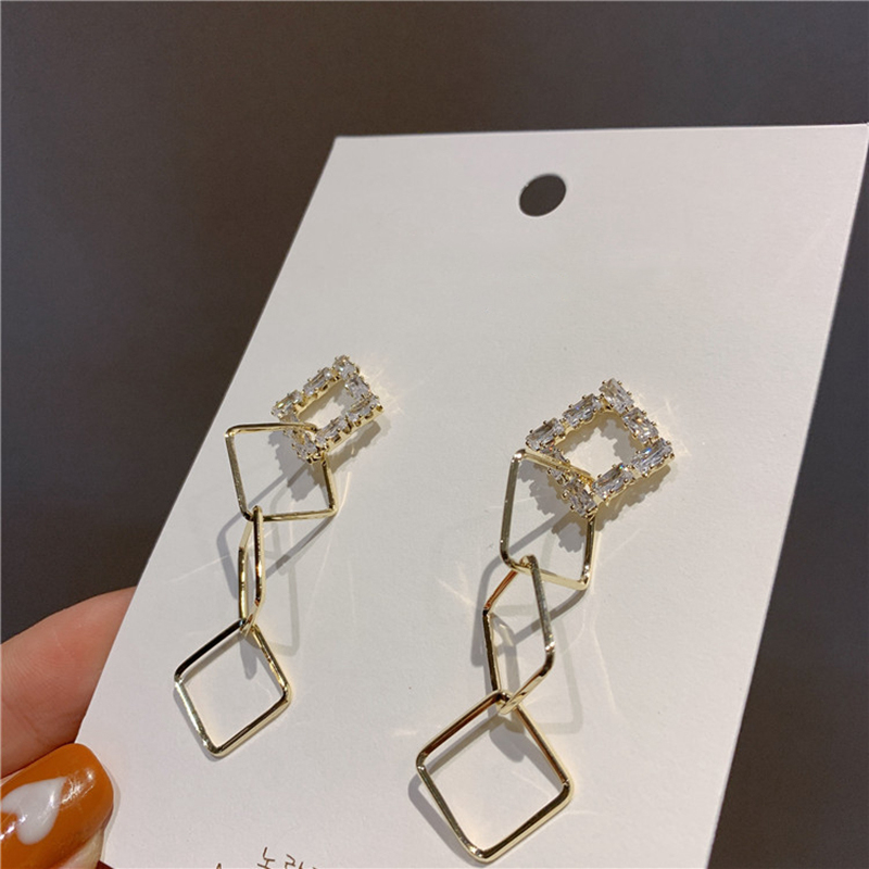 Женские квадратные серьги капельки mengjiqiao корейские элегантные