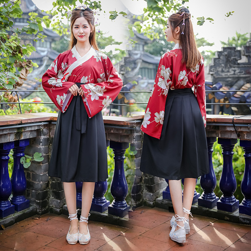 Printing Dance Costumes Women Reform Hanfu Chinese Folk Stage Wear Singers Outfits Oriental Performance Clothing 2 Pcs DC2701