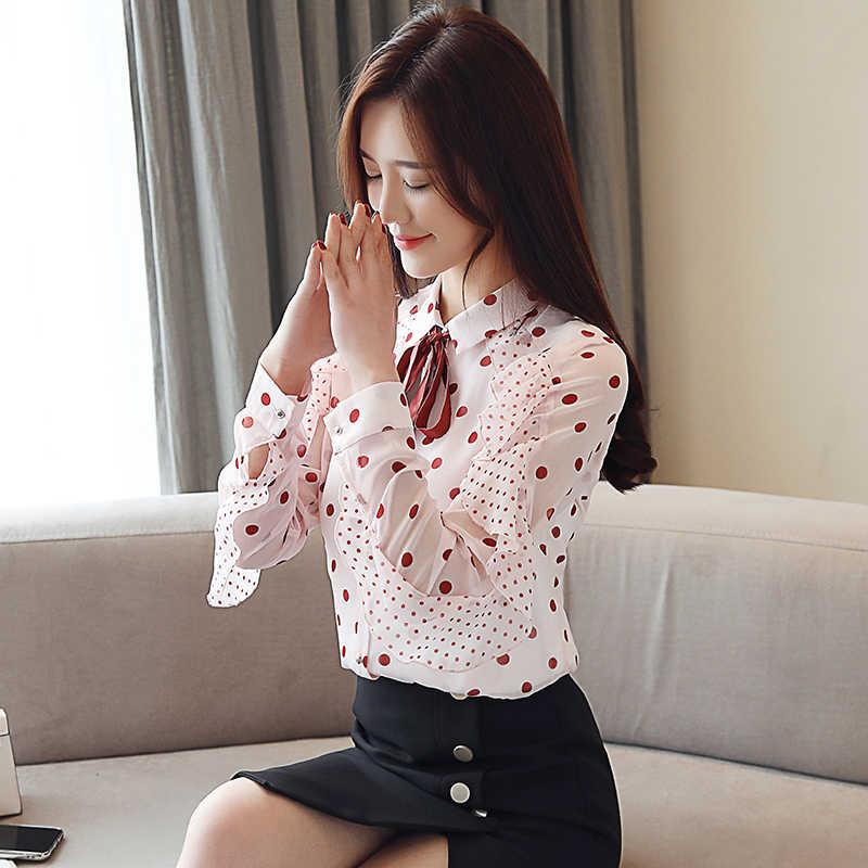 Automne mode coréenne en mousseline de soie femmes Blouses papillon manches rose femmes chemises de grande taille XXL Blusas Femininas Elegante