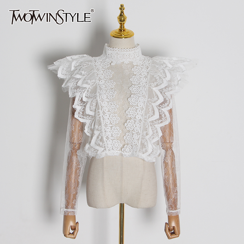 TWOTWINSTYLE Casual Lace Women's Blouses Turtleneck Long Sleeve Ruffles Perspective Mesh Shirt Female Fashion Clothing 2020 Tide