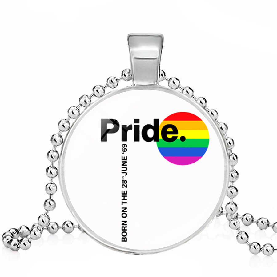 Rainbow LGBT สร้อยคอเกย์เลสเบี้ยน Pride สร้อยคอ Rainbow FLAG Bi Pride Heart แก้ว Cabochon เครื่องประดับ Dropshipping