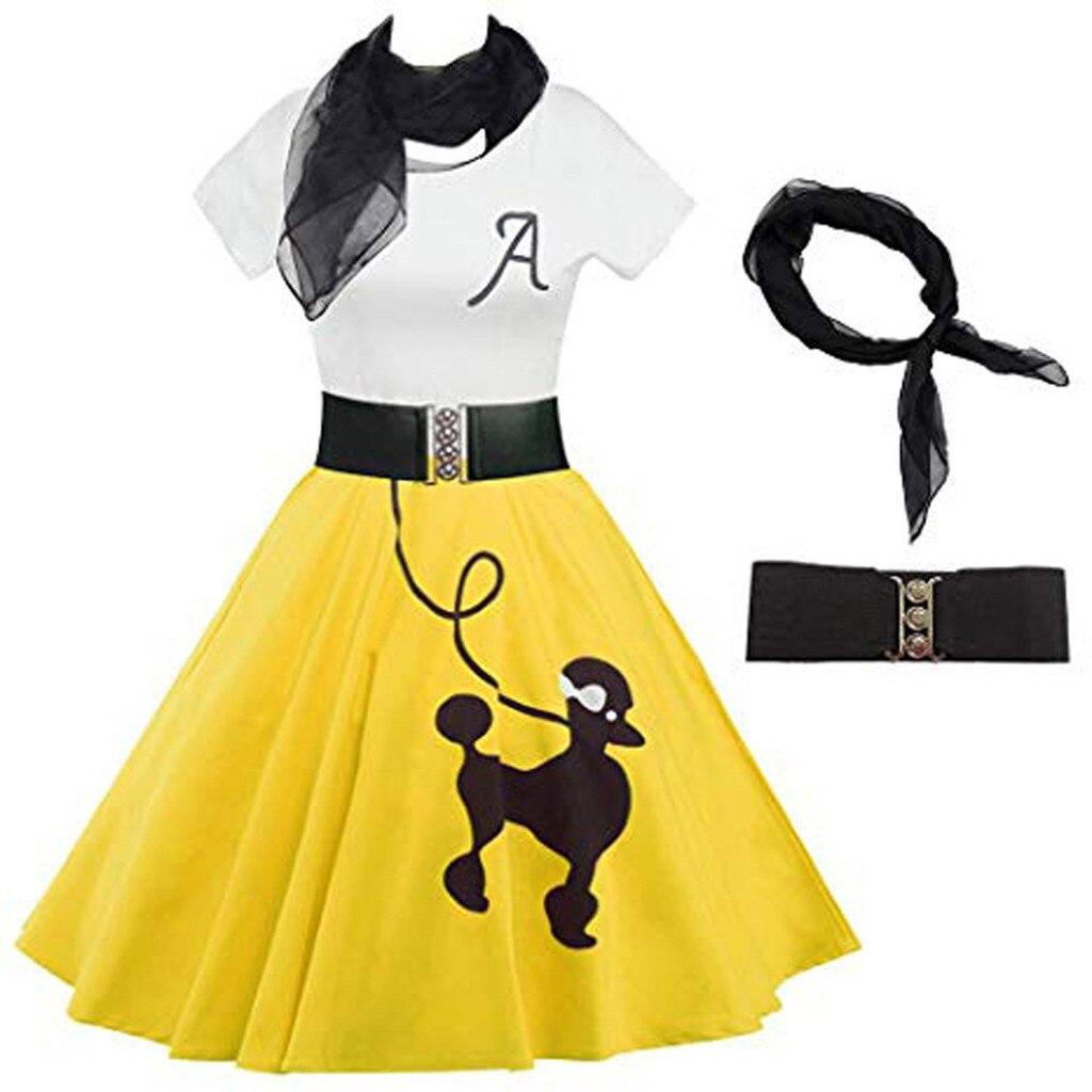 Womens DressLily Poodle Print Skater Vintage Rockabilly Swing Tee Cocktail Dress omen Vintage Dress Sukienki Damskie #50