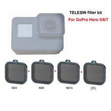 TELESIN – kit de filtres CPL ND 4 8 16 pour Gopro hero 7 6 5 hero6 hero5, filtre polarisant pour caméra go pro
