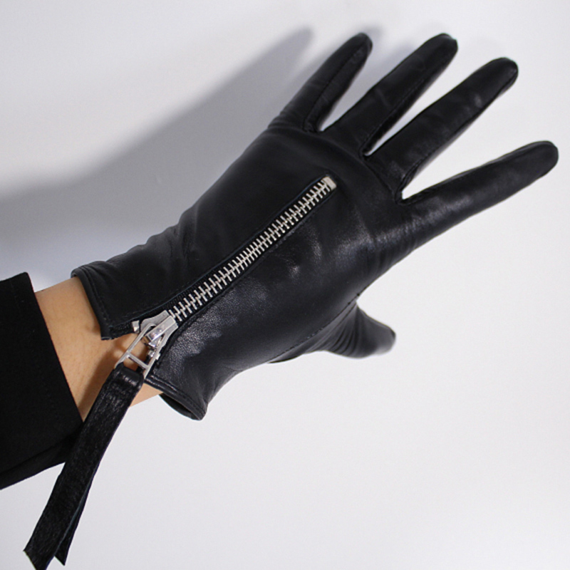Image 3 - Touchscreen Genuine Leather Gloves 21cm Short Style Pure Imported Goatskin Bright Leather Black Female Touch Silver Zipper WZP10Womens Gloves   -