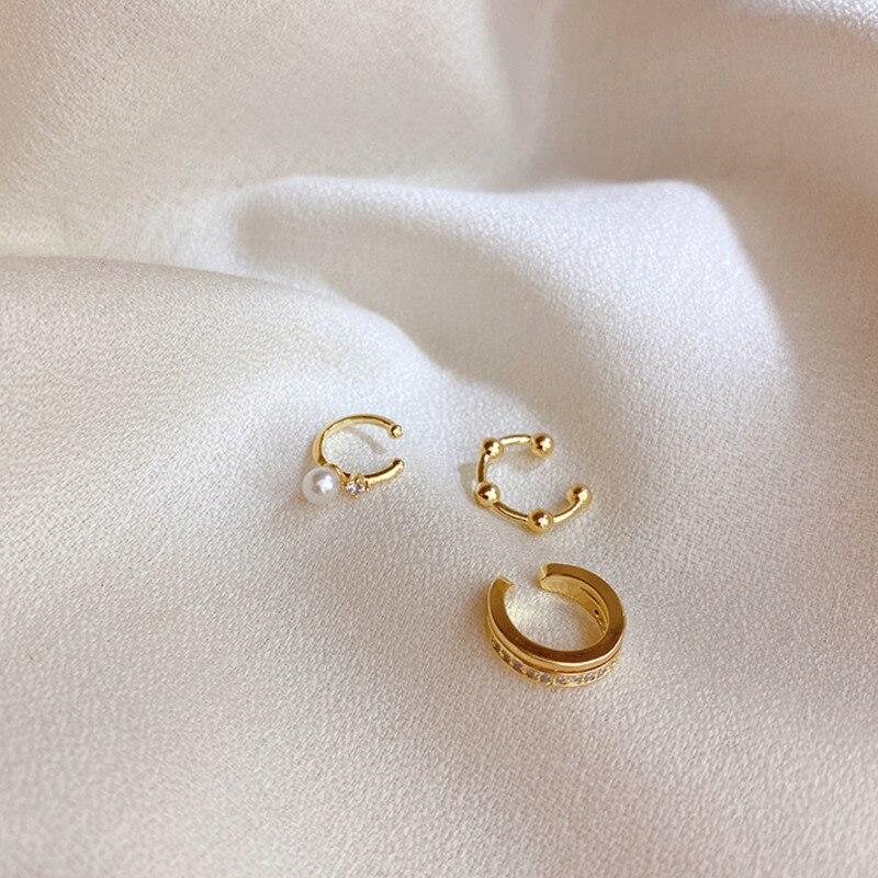 10 Set Ear Cuff Gold Leaves Non-Piercing Pearl Crystal Zircon Ear Clips Fake Cartilage Earring Jewelry For Women Men CZ