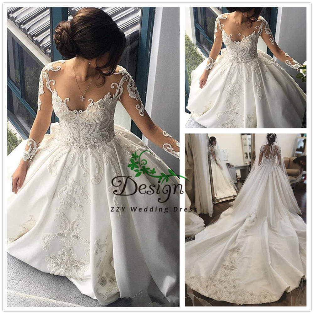Elegant Long Sleeves Illusion Beading Ball Gown Chapel Train Custom-Made Vestido De Casamento Full Sleeves Scoop Wedding Gowns