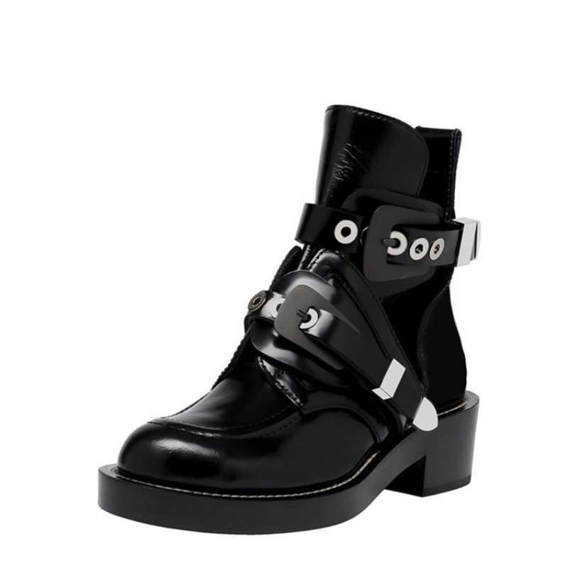 Marke Schnalle Starke Ferse Stiefeletten Echt Leder Frauen Aushöhlen Punk Motorrad Stiefel Runway Sommer Schuhe Plus Größe 42