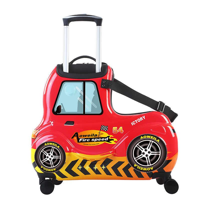 24'3d coche dibujos animados niños equipaje rodando ruedas maleta ruedas estudiante multifunción troyano caballo Trolley niños bolsa de viaje