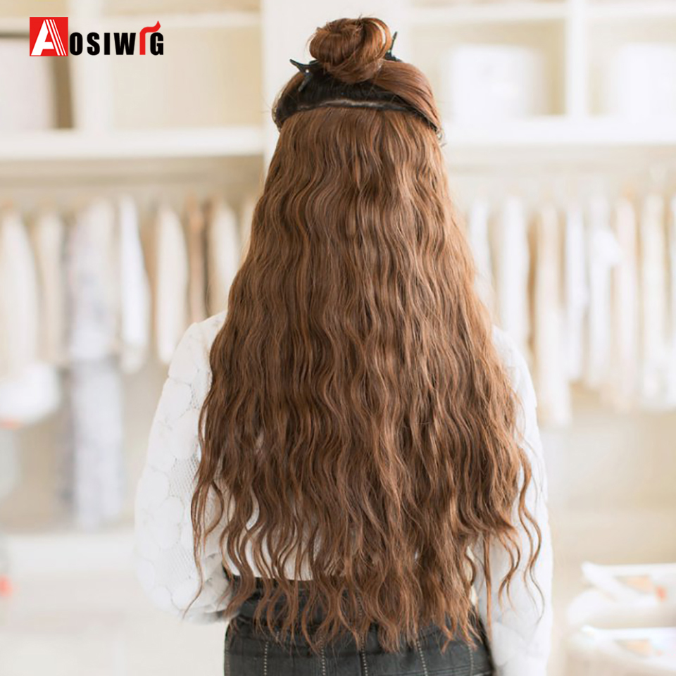 Long Curly Black Brown 5 Clip In Hair Extensions Natural Synthetic Heat Resistant Fake Hairpieces False Hair For Women AOSIWIG