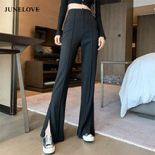 Junelove vintage longo alargamento calças femininas coreano streetwear sexy calças de cintura alta senhora casual dividir preto sino inferior calças compridas