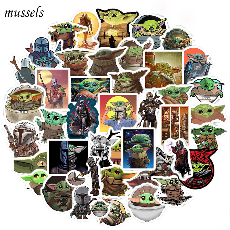 25-50Pcs The Mandalorian Star Wars Baby Yoda Sticker Scrapbooking Suitcase Decal Skateboarding Motorcycle Children Gift Stickers