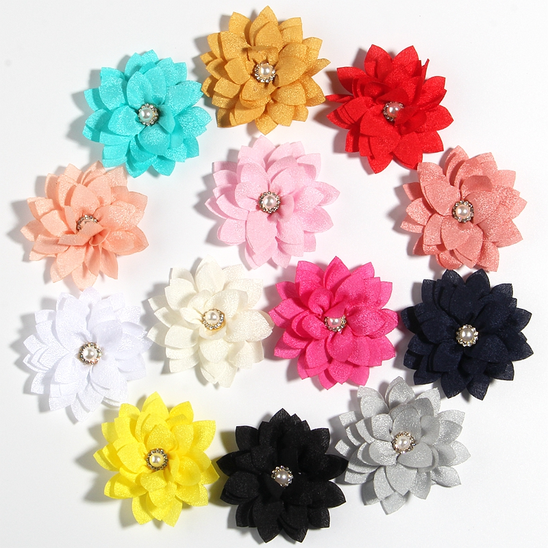 """10PCS 5.5CM 2.1"""" Small Layer Fabric Flower For Wedding Boutique Chiffon Lotus Hair Flowers For Kids Hair Accessories Headbands"""