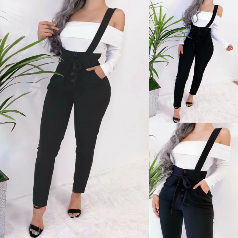Womens Fashion Black Suspender Trousers Overalls Autumn Slim Dungarees Ladies Cami Romper Ninth Pants Casual