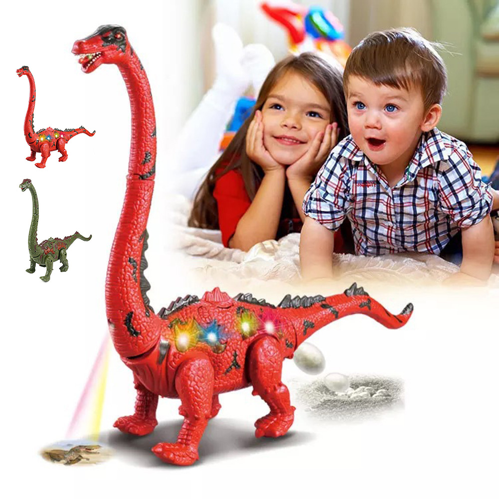 Electric Walking Dinosaur Toy Long Neck Lay Eggs Projection Funny Dinosaur Model Birthday Christmas Gifts For Kids Children Toys