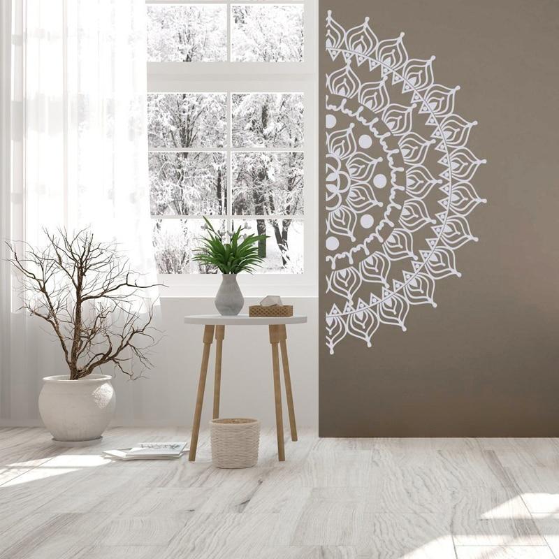 Nordic Adhesive Half Mandala Wall Sticker Decal Mural Meditation Home Decoration