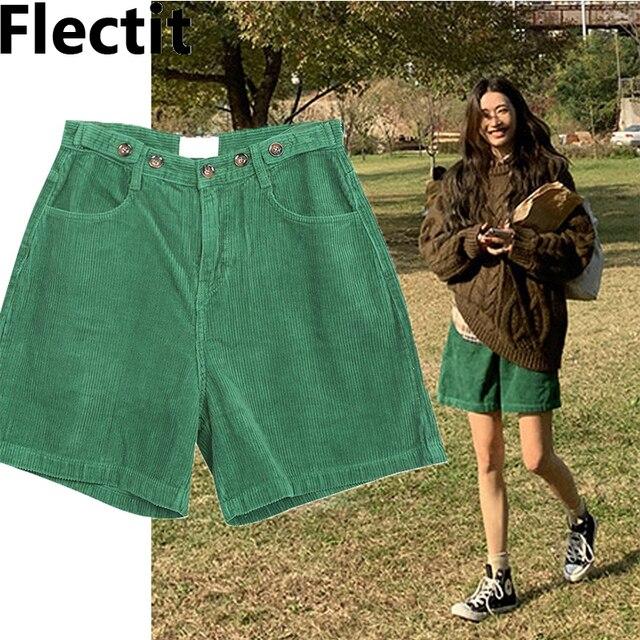 Flectit Bermuda Shorts Women High Waist Wide Leg Oversized Shorts Corduroy Student Girl Casual Outfits 1