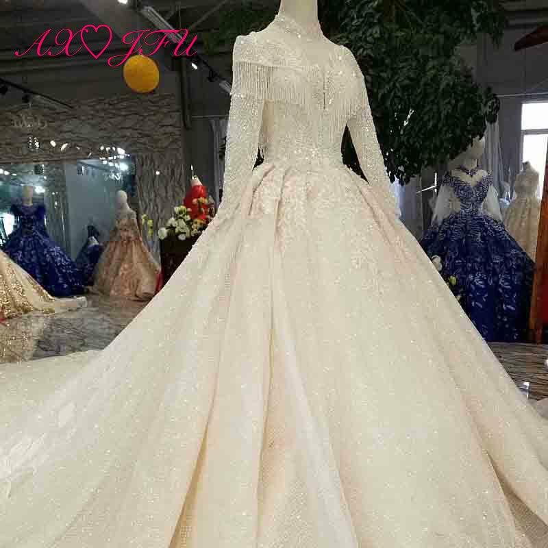 Axjfu Luxury Princess Beading Crystal Flower White Lace Wedding Dress Vintage High Neck Long Sleeve Bride Wedding Dress 0033 Wedding Dresses Aliexpress,Wedding Dresses Catalogs Free By Mail