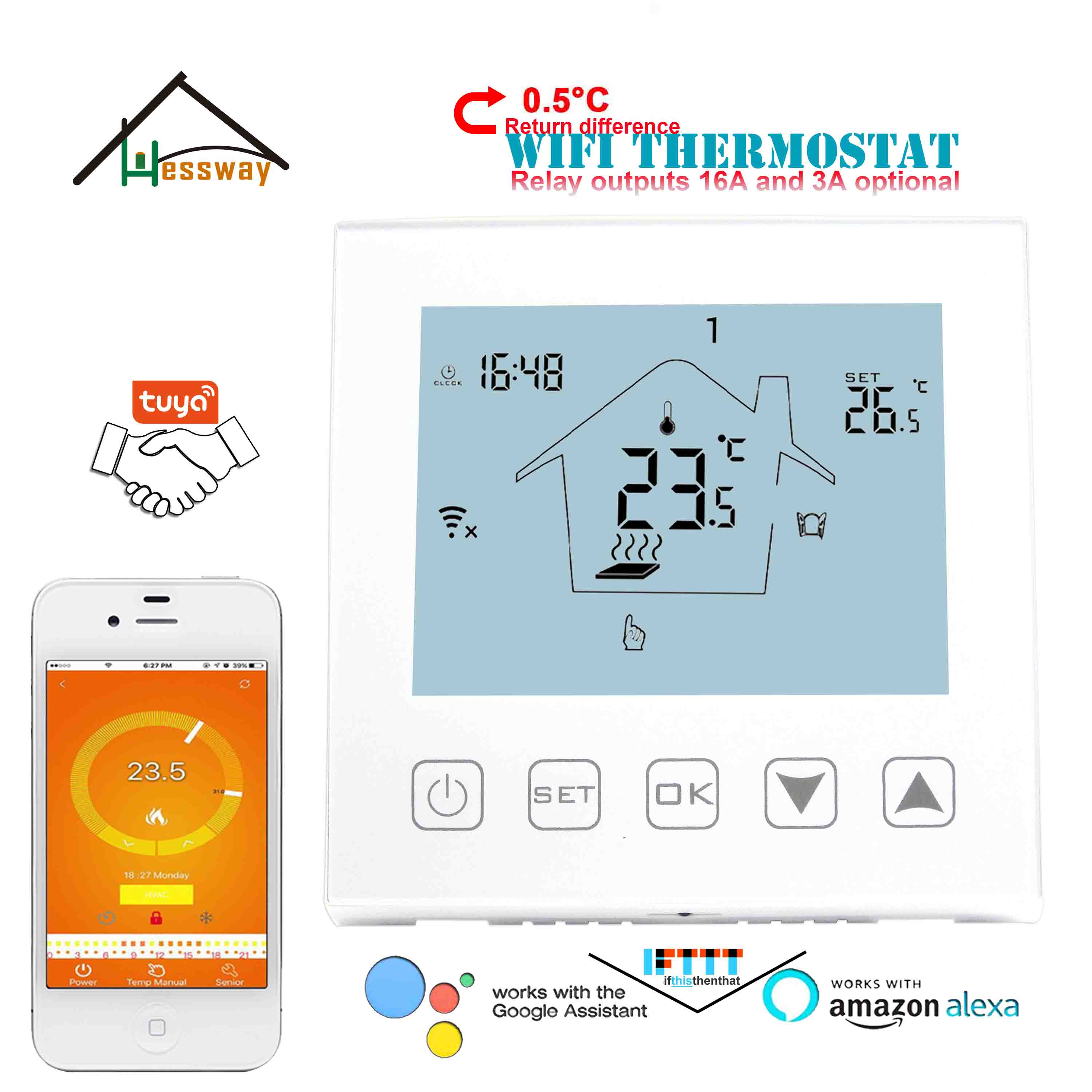 HESSWAY Radiant Floor Heating TUYA WIFI THERMOSTAT For 3A/16A Relay Switch