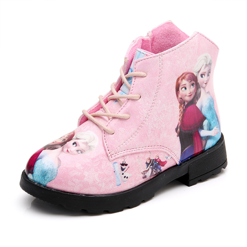 Image 4 - Winter Girl Shoes Ice And Snow Princess Shoes Short Boots Baby Shoe Cartoon Children Snowfield Leather Martin Boots Child Shoes-in Boots from Mother & Kids