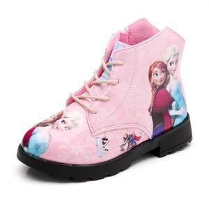 Image 4 - Zimowe buty dziewczęce lód i śnieżna księżniczka buty krótkie buty bucik dziecięcy Cartoon dzieci Snowfield skórzane buty Martin buty dziecięce