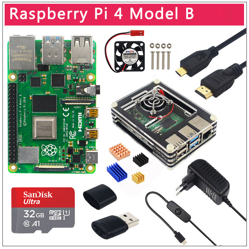 Original UK Raspberry Pi 4 Model B 1 2 4GB RAM BCM2711 Option Case32 GB SD CardSwitch Power  Micro HDMI  9 Layer Case  Fan