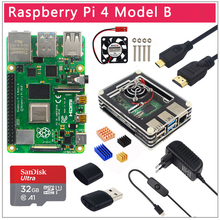 Raspberry Pi 4 Original UK, modelo B, 1/2/4GB RAM, caja de opción BCM2711, tarjeta SD de 32 GB, interruptor de alimentación, Micro HDMI, carcasa de 9 capas, ventilador