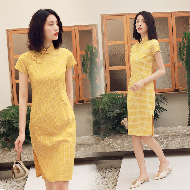 Spring Plaid Cheongsam Dress Women Sexy Slim Cotton Qipao Midi Dresses Vestidos Student Girl Chinese Style Dress Qipao