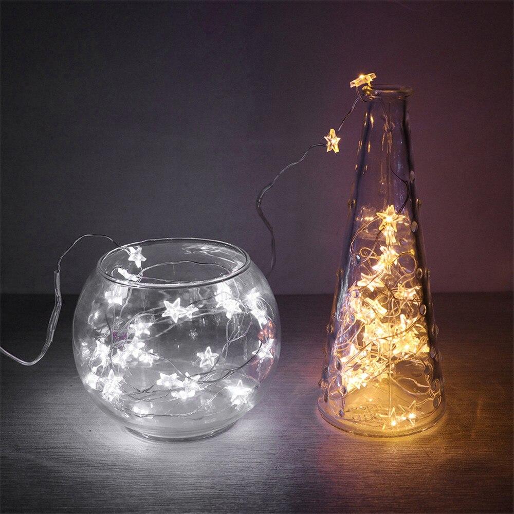 2 м/3 м гирлянда на медной проволоке со звездами светодиодный Сказочный свет Рождество Свадьба Новый год украшение огни батарея работает