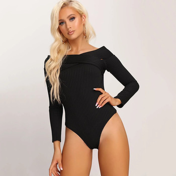 Ins Fashion New Long-sleeved One-shoulder Threaded One-piece Women's Clothing  Women Jumpsuit  Bodysuit Long Sleeve Sexy Leisure 1