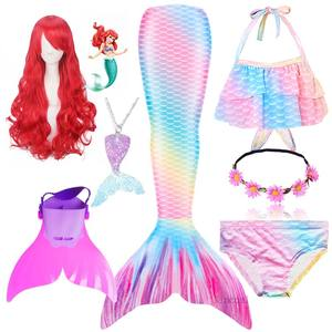 Kids Children Little Mermaid Tails With Monofin for Swimming Mermaid Wig Cosplay Costume Girls Swimmable Swimsuit