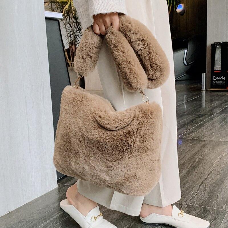 Livraison directe hiver Sac à main concepteur femmes en peluche sacs à bandoulière doux fourrure Hobo Sac à main femmes grande capacité Sac à main dame Sac
