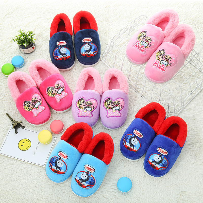 Cotton Slippers Children Thomas Barbie Winter 2019 New Style Cover Heel Cotton-padded Shoes Big Boy Cartoon Slippers