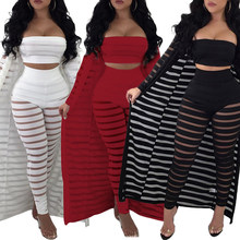 Vrouwen Sheer Mesh Tube Top Lange Broek Bodycon 3 Pcs Vest Outfits Jumpsuits Set(China)