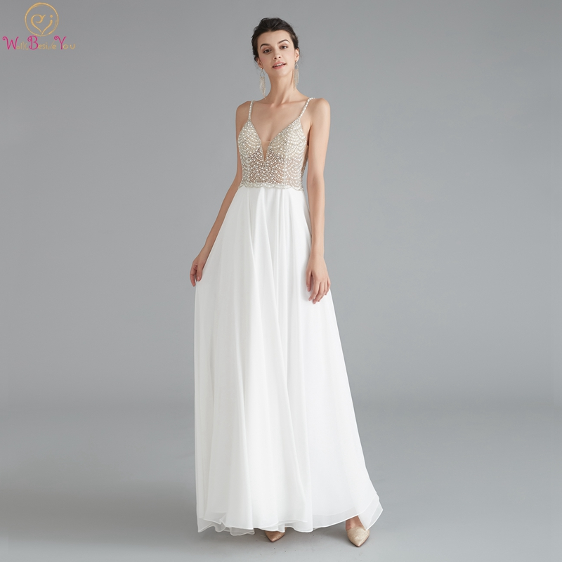 2019 A-Line Ivory Prom Dresses Elegant Spaghetti Straps Beading Pearls Vestidos De Gala Fairy Long Evening Formal Party Gowns