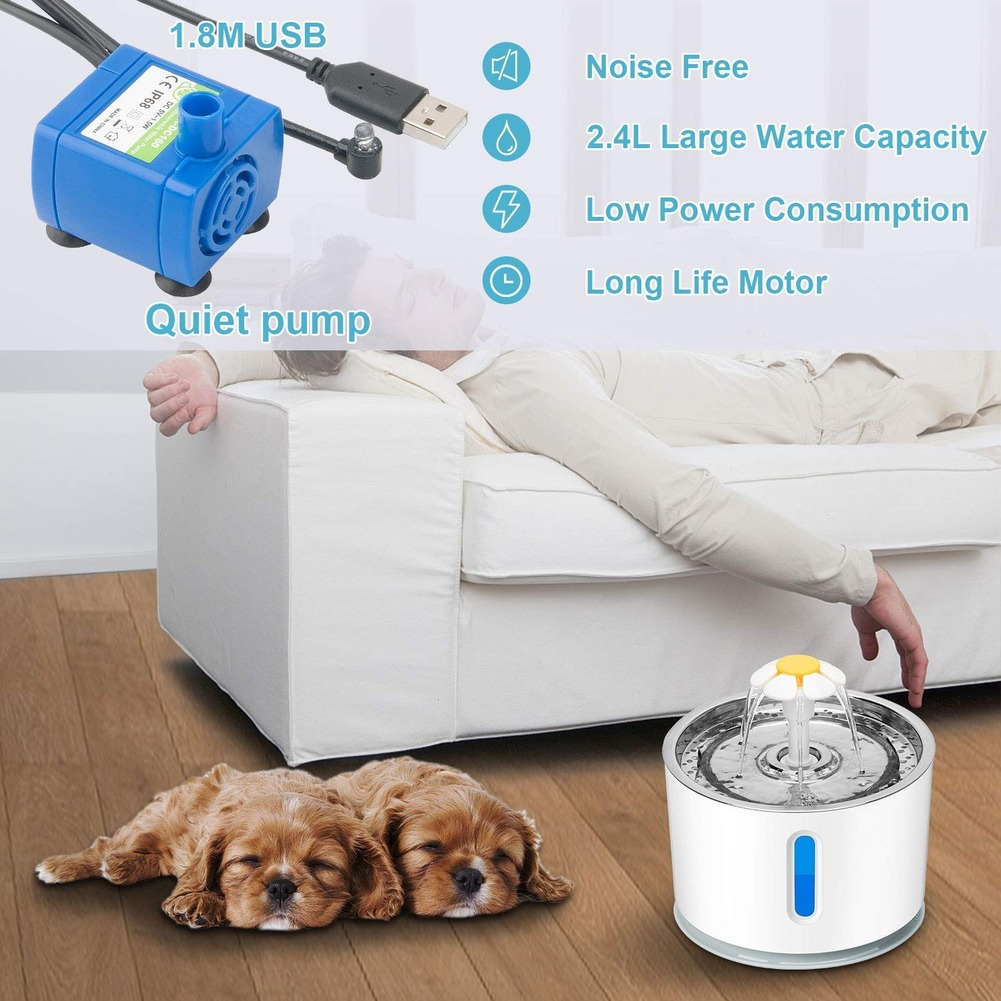 2.4L Automatic Pet Cat Water Fountain Ultra Quiet USB Dog Drinking Fountain Drinker Feeder Bowl Pet Drinking Fountain Dispenser 3