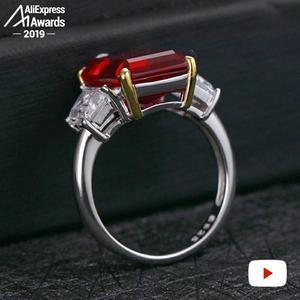 Image 4 - 14*10mm szmaragdowy krój S925 srebrny pierścionek SONA diamentowy szafirowy szafir ametystowy rubin