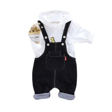 New Autumn Baby Boy Girl Outfits Long Sleeve Cartoon Hoodie Sweatshirt+Strap Trousers Casual Sets