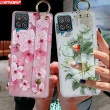 Dla Samsung Galaxy A12 A32 A42 A52 A72 przypadku miękka TPU kwiaty nadgarstek tylna pokrywa dla Samsung A12 A32 A42 A52 A72 5G przypadki telefonów