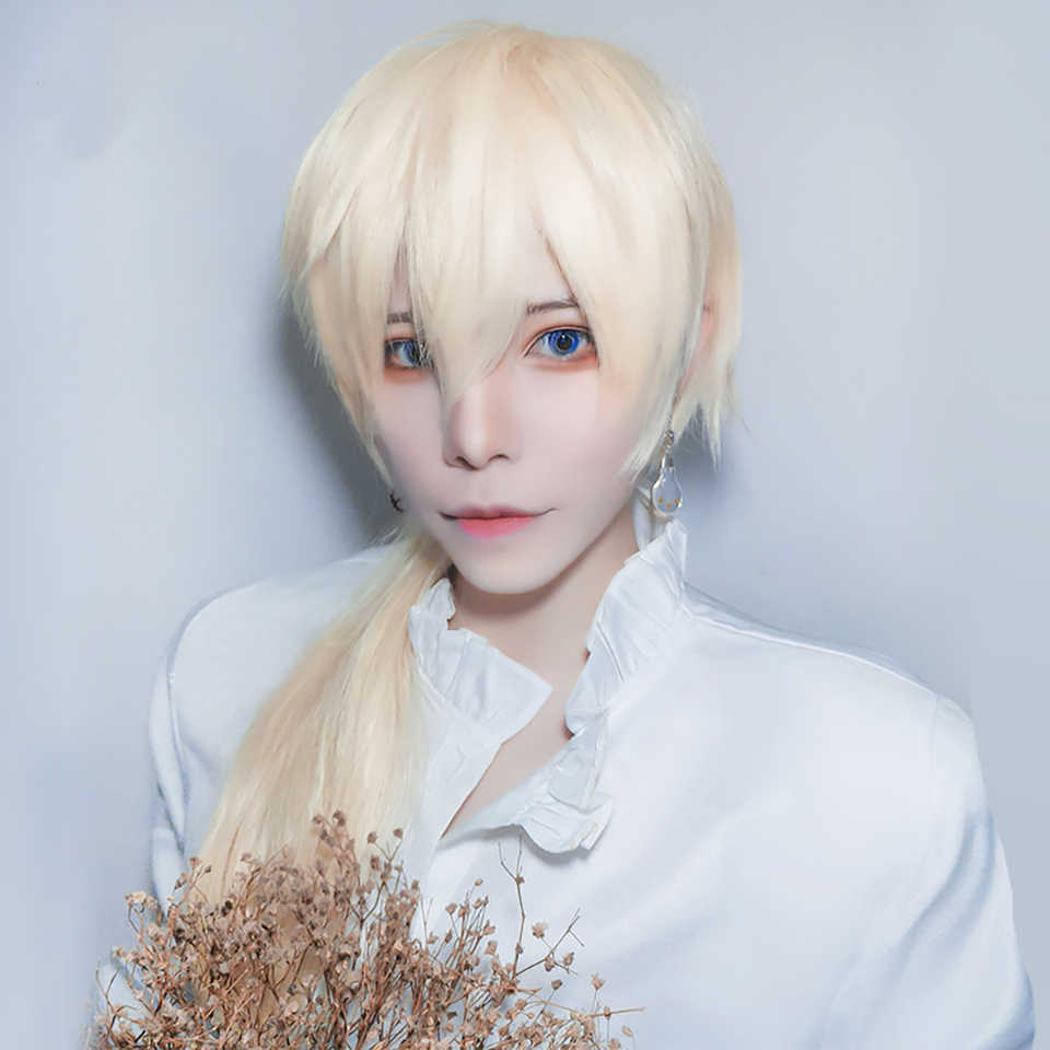 Buqi Cosplay Wig Blonde Bangs 27 Long Ponytail Synthetic Heat Resistant Hair For Women Boy Party Anime Aliexpress