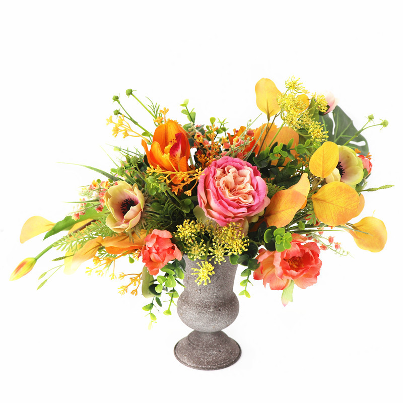 INDIGO conçu-1 ensemble Rose Rose automne Cymbidium artificielle Arrangement de fleurs cadeau Bouquet Table pièce maîtresse livraison gratuite