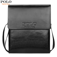 VICUNA POLO Hot Sell Brand Solid Double Pocket Soft Leather Men Messenger