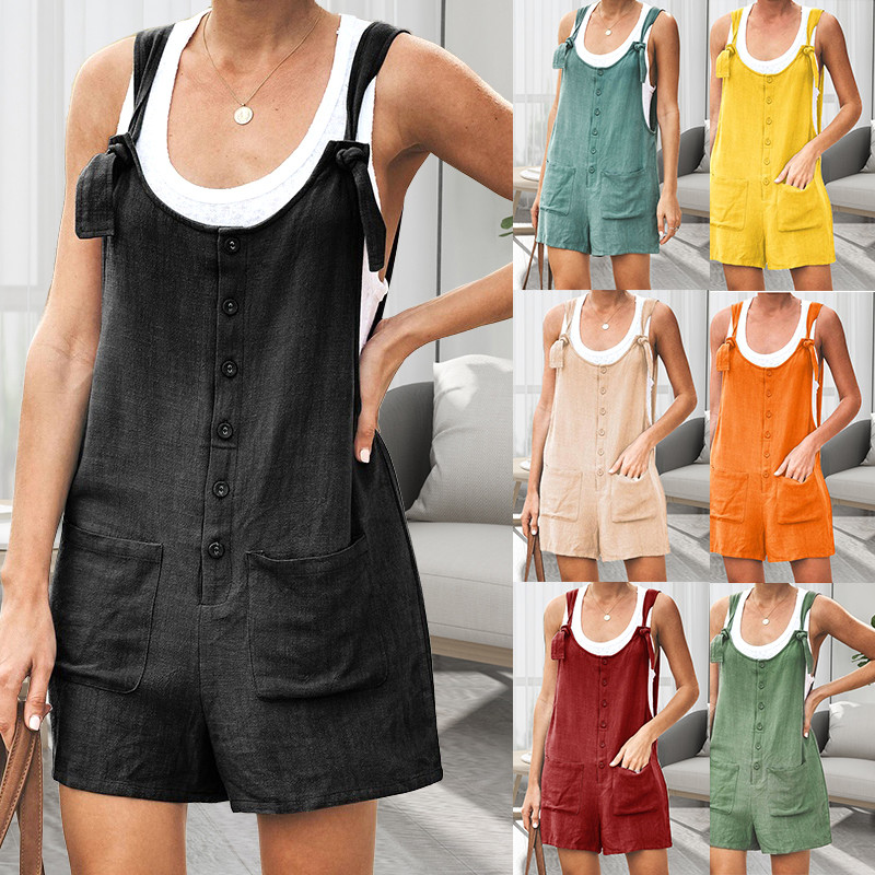 Womens Solid Jumpsuit Summer Fashion Oversized Fake Two Pieces Outfit Casual Loose Sleeveless Body Suits for Women O Neck Romper