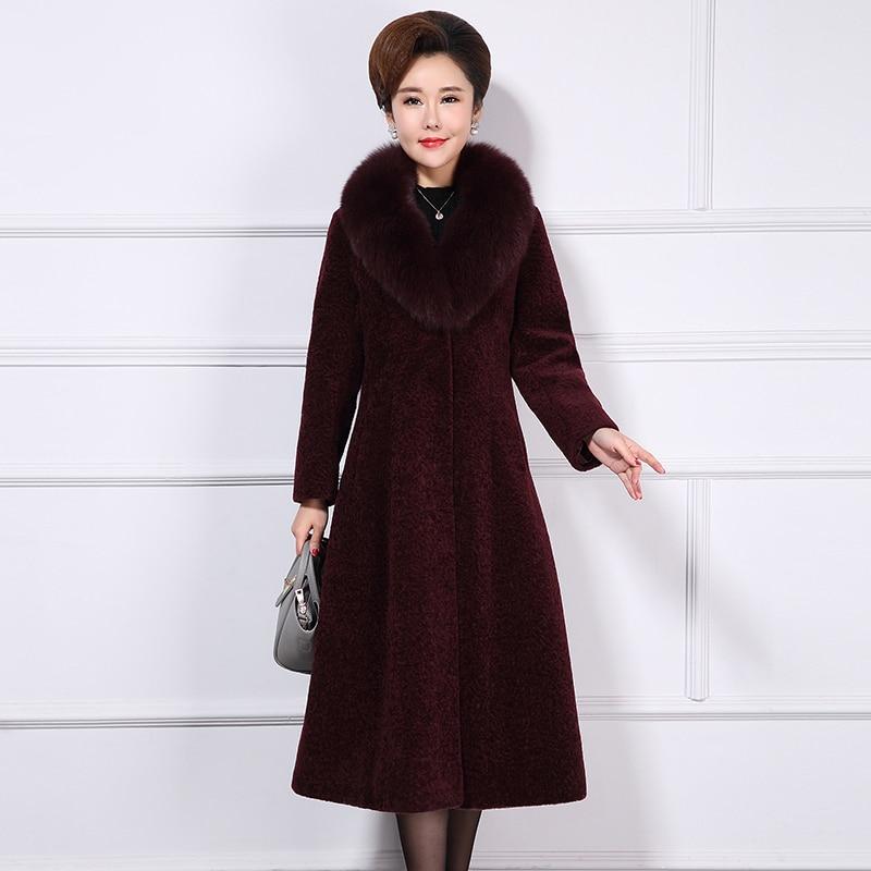 Fur Real Coat Female Natural Sheep Shearing Overcoat + Large Fox Fur Collar Wool Winter Jacket Women Clothing 2020 1558