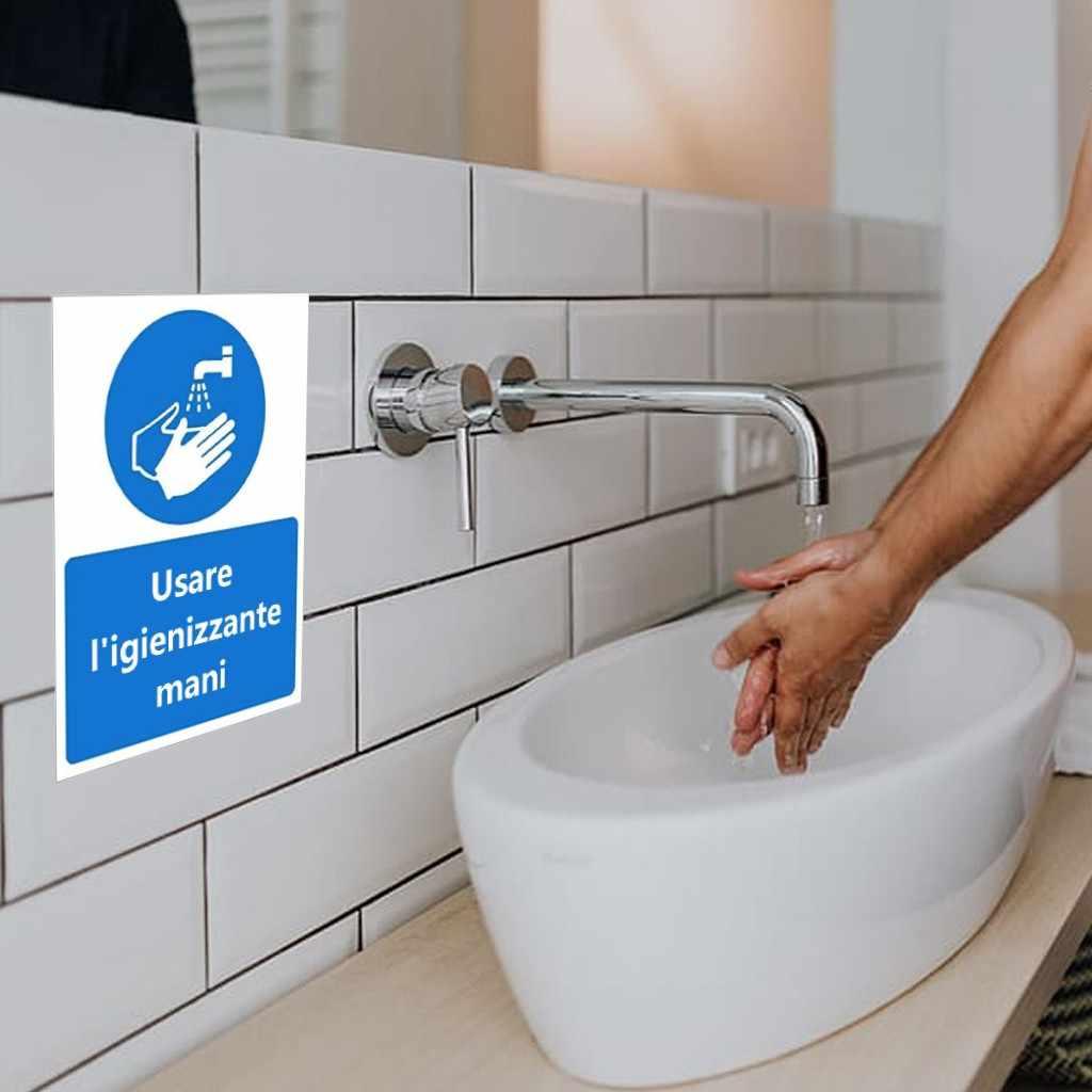 1 Pc Muurstickers Teken Herinnering Creatieve Usare L'igienizzante Mani 150X200 Mm Pvc Opmerking Sticker Behang Decals Hand wassen