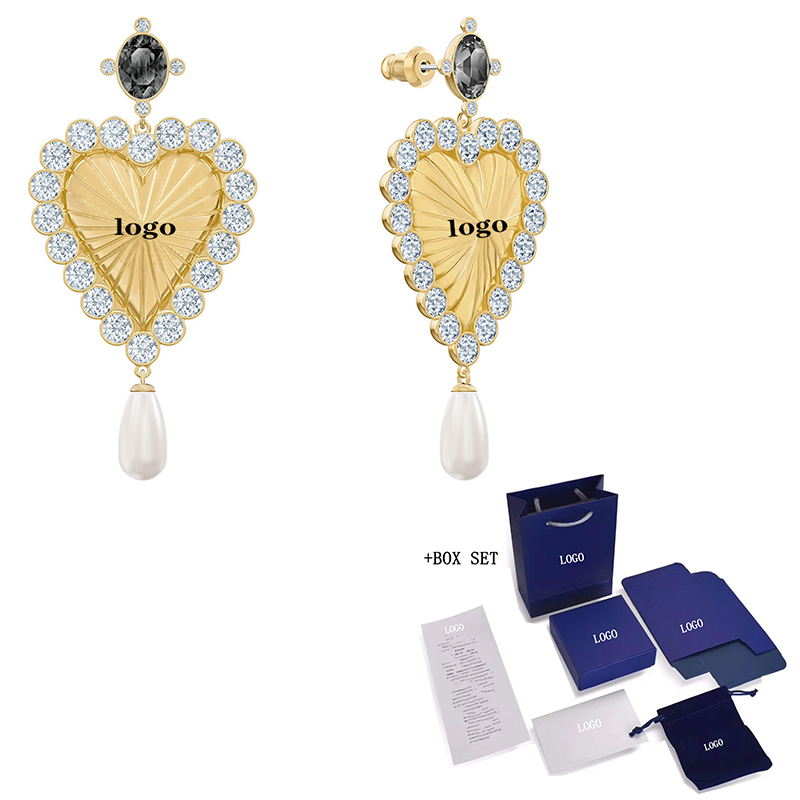 SWA New Fashion Retro Pearl SWA Perforated <font><b>Earrings</b></font> <font><b>Elegant</b></font> Love Crystal Water <font><b>Drop</b></font> Pearl Decoration Crystal Female <font><b>Jewelry</b></font> Gift image